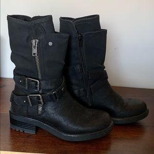 Black Biker Boot with Side zipper